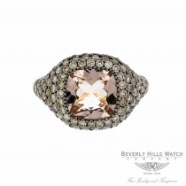 Naira & C Cushion Cut Morganite and Chocolate Diamond Ring LV0X3V - Beverly Hills Watch