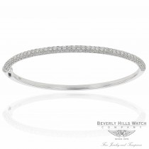 18k White Gold Oval Bangle Diamond Bracelet 1T7MFY - Beverly Hills Watch