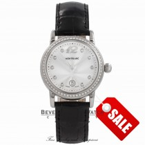 Montblanc Ladies Star Steel 32MM Stainless Steel Silver Dial Diamond Markings Diamond Bezel 101629 14278 - Beverly Hills Watch Company Watch Store