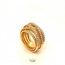 Naira & C Crossover Diamond Ring Yellow Gold FZ6KFN
