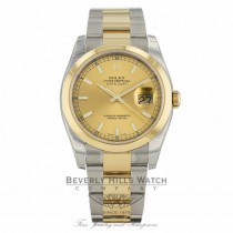 Rolex Datejust Champagne Index Dial Oyster Bracelet Yellow Gold Stainless Steel 116203 KVA429 - Beverly Hills Watch Company