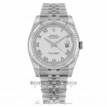 Rolex Datejust 36MM White Roman Dial Jubilee Bracelet 116234 - Beverly Hills Watch