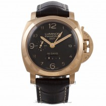 Panerai Aspen Luminor 1950 GMT 44MM 18k Rose Gold Brown Alligator Strap PAM00493 7AR0NT - Beverly Hills Watch Company Watch Store