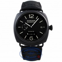 Panerai Radiomir 8 Days Black Dial Automatic Black Ceramic Case Leather Strap PAM00384 VC7ULU - Beverly Hills Watch Company Watch Store