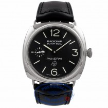 Panerai Black Seal Logo Base Radiomir Black Leather Strap PAM00380 J51YUC - Beverly Hills Watch Company Watch Store