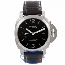 Panerai Luminor 1950 3 Days 42MM Stainless Steel Black Dial Brown Alligator Strap PAM00392 CJY9EW - Beverly Hills Watch Store