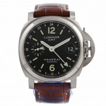 Panerai Luminor GMT 40MM  Stainless Steel Case Black Dial Brown Leather Strap PAM00244 VEPR2U - Beverly Hills Watch Store