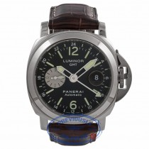 Panerai Luminor GMT 44MM Stainless Steel Black Dial Alligator Strap PAM00088 VM2KD8 - Beverly Hills Watch Store