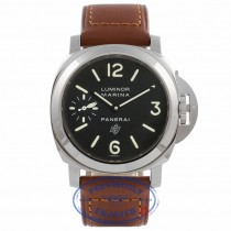 Panerai Luminor Marina Black Dial Stainless Steel Tan Leather Strap PAM00005 EYA2D9 - Beverly Hills Watch Store