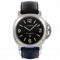 Panerai Luminor 44MM Stainless Steel Black Dial Leather Strap PAM00000 7QV52L - Beverly Hills Watch Company Watch Store