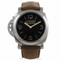 Panerai Luminor 1950 47MM Left-Handed Stainless Steel Black Dial Leather Strap PAM00557 K380KD - Beverly Hills Watch Company Watch Store