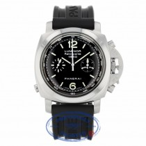 Panerai Luminor 1950 Chronograph Rattrapante Stainless Steel Black Dial Rubber Strap PAM00213 Y0DXL5 - Beverly Hills Watch Company