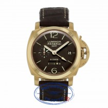 Panerai Luminor GMT Hand Wind 44mm 18k Rose Gold Brown Dial PAM00289 5H87Q5 - Beverly Hills Watch