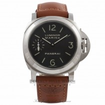 Panerai Luminor Marina 44MM Stainless Steel Black Dial Tan Leather Strap PAM00111 W4YEUA - Beverly Hills Watch Store