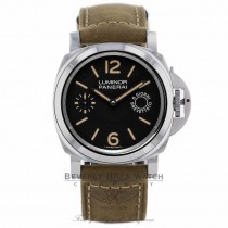 Panerai Luminor Marina Black Dial Tan Leather PAM00590 - Beverly Hills Watch