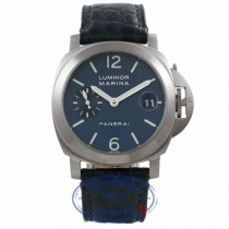 Panerai Marina Luminor 40MM Stainless Steel Blue Dial Crocodile Strap PAM00070 60YU15 - Beverly Hills Watch Company Watch Store