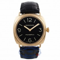 Panerai Radiomir 18k Rose Gold 45MM Black Dial Black Alligator Strap PAM00231 RXD647 - Beverly Hills Watch Company Watch Store