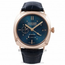 Panerai 8 Days GMT Oro Rosso 45MM 18K Rose Gold Blue Dial & Blue Navy Alligator Strap PAM00538 PAA11U - Beverly Hills Watch Stor