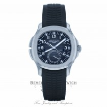 Patek Philippe Aquanaut Travel Time 40MM Stainless Steel Black Dial Black Rubber Strap 5164A-001 FH1Q4E - Beverly Hills Watch Company