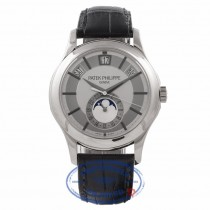 Patek Philippe Annual Calendar Grey Dial 18K White Gold Black Leather Strap 5205G PUVR4V - Beverly Hills Watch Store