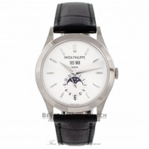 Patek Philippe Complication GMT Moonphase 18k White Gold 38MM Silver Dial 5396G-011 TDUV43 - Beverly Hills Watch Company Watch Store