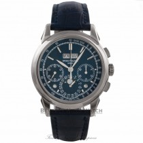 Patek Philippe Grand Complication 18k White Gold Perpetual Calendar Blue Dial Alligator Strap 5270G-014 38JDM3  - Beverly Hills Watch Company Watch Store