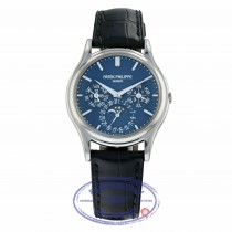 Patek Philippe Grand Complications Perpetual 37mm Platinum Blue Dial 5140P-001 MXD9JF - Beverly Hills Watch Company