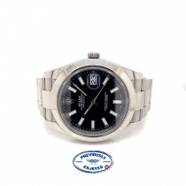Rolex DateJust II Stainless Steel 41MM Black Dial Index Markers 116300 Q2A94M - Beverly Hills Watch Company