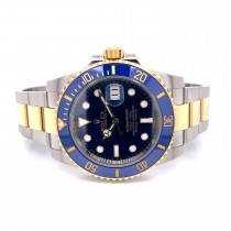 Rolex Submariner 18K Yellow Gold and Stainless Steel Blue Dial 116613LB R57157 - Beverly Hills Watch Company