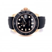 Rolex Yacht-Master 37mm Everose Black Dial Rubber Strap 268655 RAD046 -  Beverly Hills Watch Company