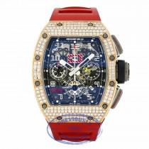 Richard Mille RM11 Annual Flyback Chronograph Rose Gold and Titanium Custom Set Diamonds RM011 AJ RG 7R7R8J - Beverly Hills Watch