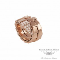 Ring 18k Rose Gold Double Wrap Snake Diamond Head M4AL51 - Beverly Hills Watch Company Watch Store