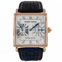 Roger Dubuis Gents Golden Square Dual Time Zone 18k Rose Gold Silver Dial G431447537.56DB HMCJNT - Beverly Hills Watch Company Watch Store