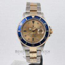 Rolex Submariner Steel and 18K Yellow Gold Serti Diamond and Sapphire Dial Watch 16803 Beverly Hills Watch Company Watches