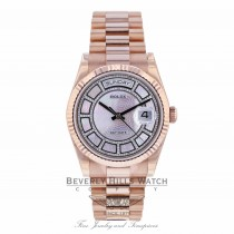 Rolex Day-Date Sertie 36mm Carousel Mother of Pearl Everose Gold Fluted Bezel 118395 C8E58V - Beverly Hill Watch Company