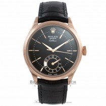 Rolex Cellini Dual Time 39MM 18k Rose Gold Domed and Fluted Bezel Black Dial 50525 FTM36X - Beverly Hills Watch Company Watch Store