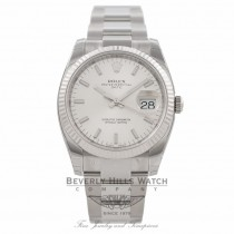 Rolex Oyster Perpetual Date 34mm 18k White Gold Fluted Bezel Silver Dial 115234 4XJGVE - Beverly Hills Watch Company Watch Store