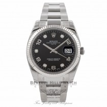 Rolex Date Oyster Perpetual 34MM 18K White Gold Fluted Bezel 115234 WX3CZC - Beverly Hills Watch Company Watch Store