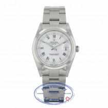 Rolex Date 34mm Stainless Steel Oyster Bracelet White Roman Numerals Dial 15200 27X29K - Beverly Hills Watch Company
