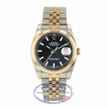 Rolex Datejust 36mm Domed Bezel Stainless Steel and Rose Gold Black Dial 116201 0VYUTU