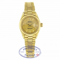 "Rolex Datejust 26mm 18k Yellow Gold ""Bark"" Case Textured Dial Index Hour Markers 6917 FLC906 - Beverly Hills Watch"