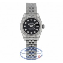 Rolex Lady Datejust 26mm Stainless Steel Jubilee Black Diamond Dial White Gold Fluted Bezel 179174 6W9MRK - Beverly Hills Watch Company