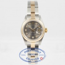 Rolex Datejust 26mm Stainless Steel and Yellow Gold Oyster Bracelet Fluted Bezel Silver Diamond Dial Ladies Watch 79173 Beverly Hills Watch Company Watch Store
