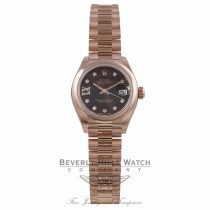 Rolex Datejust 28MM 18k Rose Gold Domed Bezel Chocolate Dial Diamond Star Markings President Bracelet 279165 Q8NZLP - Beverly Hills Watch Company Watch Store