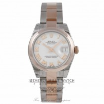 Rolex DateJust 31mm Rose Gold and Steel White Dial Roman Markers Bracelet 178241 2J6MRE - Beverly Hills Watch Company Watch Store