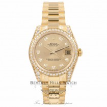 Rolex DateJust 18k Yellow Gold Diamond Bezel & Case Champagne Diamond Dial 31MM 178158 - Beverly Hills Watch Company Watch Store