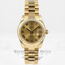 Rolex Datejust 31mm 18K Yellow Gold President Bracelet Fluted Bezel Champagne Roman Numeral Dial Watch 178278 Beverly Hills Watch Company Watches