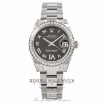 Rolex Datejust 31MM Stainless Steel Diamond Bezel Grey Diamond Roman Numeral Six 178384 - Beverly Hills Watch Company Watch Store