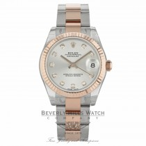 Rolex Datejust 31MM Stainless Steel and Rose Gold Fluted Bezel Silver Diamond Dial 178271 FMP85T - Beverly Hills Watch Company
