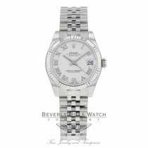 Rolex Datejust 31MM Stainless Steel White Dial Roman Numerals Jubilee Bracelet 178274 - Beverly Hills Watch